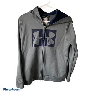 Boys Under Armour Gray Zip Up Hoodie size M